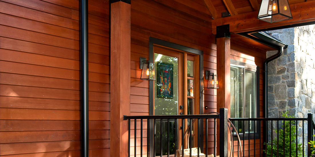 SHIPLAP CLEAR CEDAR SIDING (CUSTOM NICKEL GAP PROFILE) PORCH WITH CEDAR LUMBER BEAMS NJ