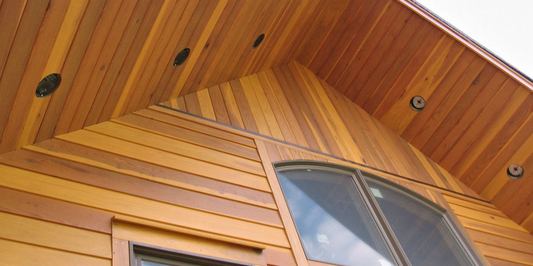 redwood near clear sap b grade 1x8 bevel siding timberframe home in NY
