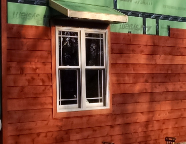 1x8 Thick Bevel siding STK grade pre-stained Austrailian Timberoil Mahogany Flame