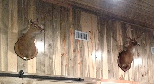 BLUE STAIN Tongue and Groove Pine Wood Paneling mantel