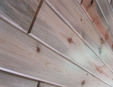 interior wood paneling - BLUE Grandaddy Pine - close-up