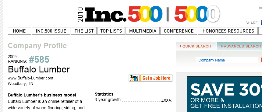 Buffalo Lumber Ranks #585 on Inc Magazine's 5000 fastest growing companies in America