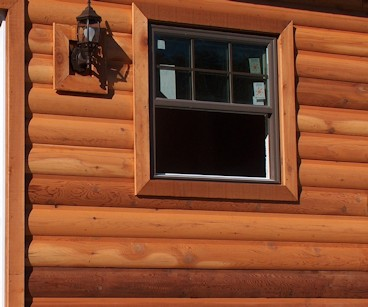Western Red Cedar Log Cabin Siding pre-stained