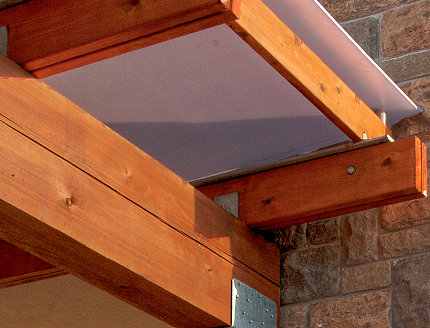 western red cedar 4x8 Cedar Beam supports close-up