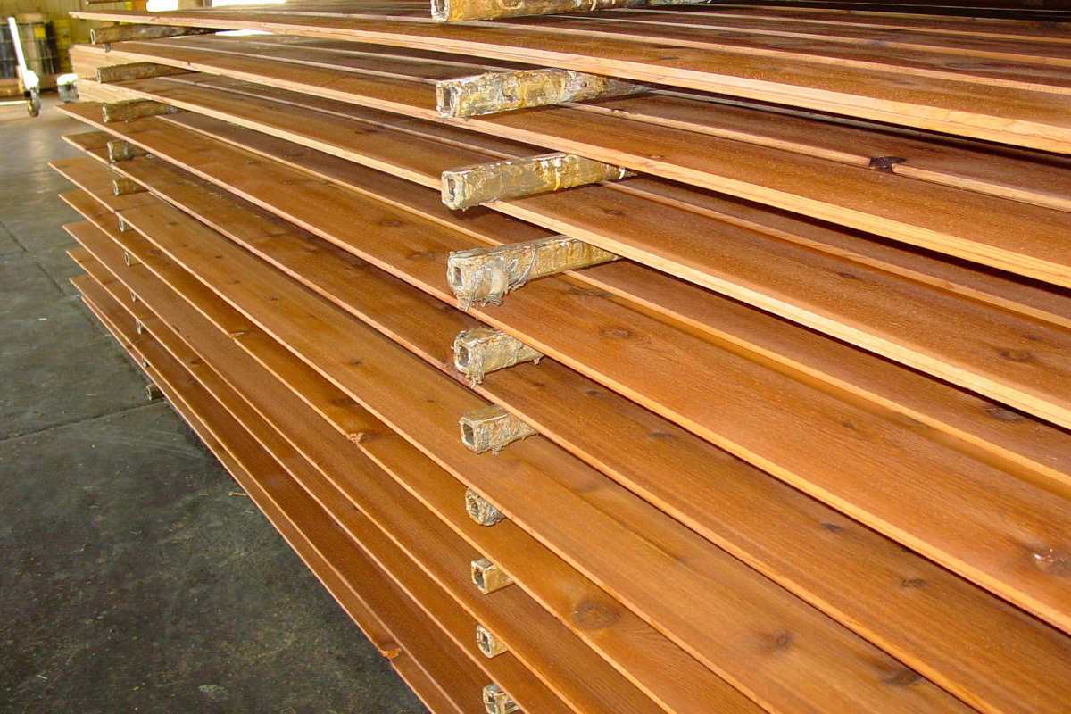 1x8 Dutch Lap Cedar Siding Customer Select Grade - Mill Pre-Stained and Drying on Racks