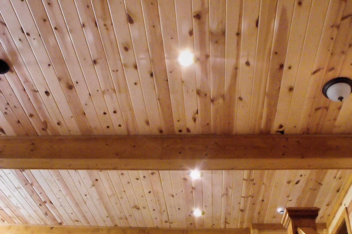 KNOTTY PINE PANELING ON CEILING CLEAR UV FINISH