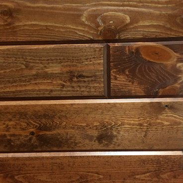 Pine Paneling HAND Stained Fruitwood - closeup