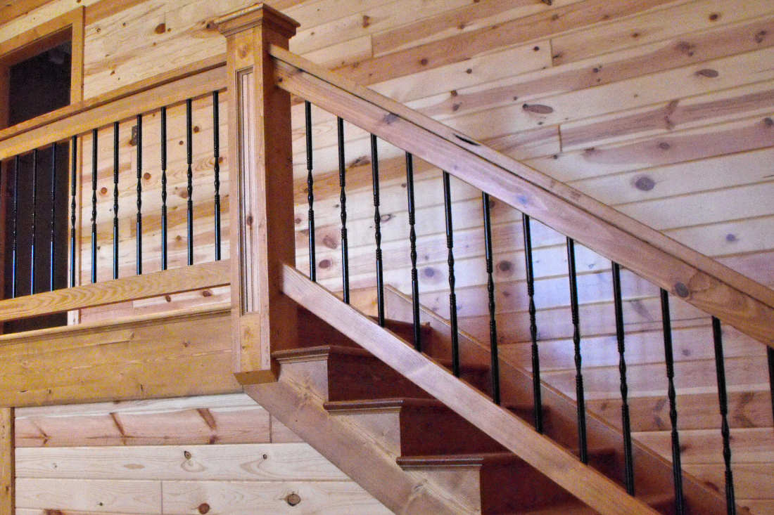 KNOTTY PINE PANELING 1X6 TONGUE & GROOVE CLEAR FINISH STAIRCASE