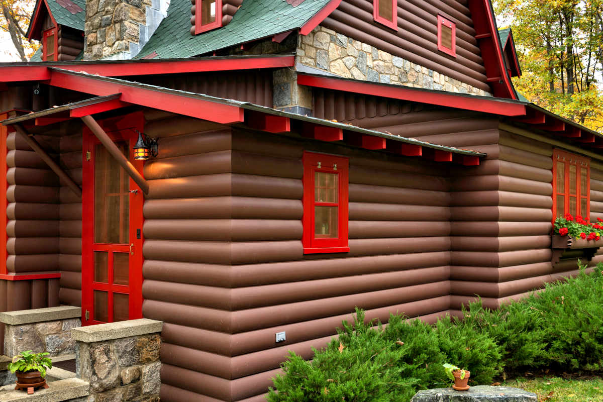 2x10 Cedar Log Cabin Siding Factory Primed and Job Site Painted New York Resort