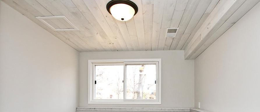 Whitewash stained Pine Wood Paneled ceiling