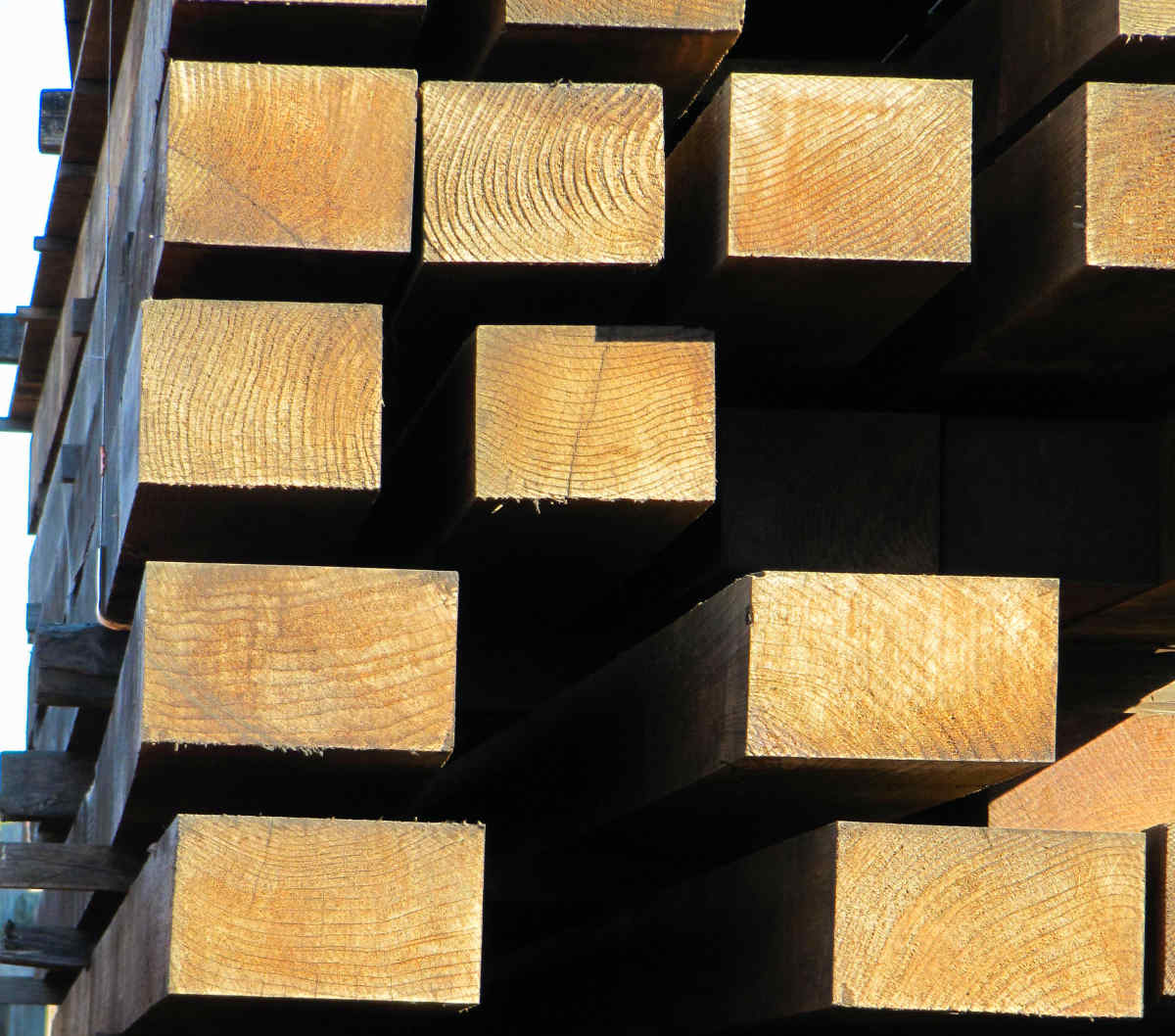 LARGE REDWOOD TIMBERS AIR DRYING FOR YEARS AT MILL