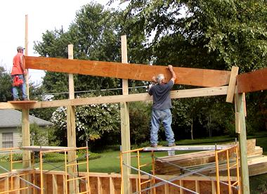 Redwood Lumber cross beam framing