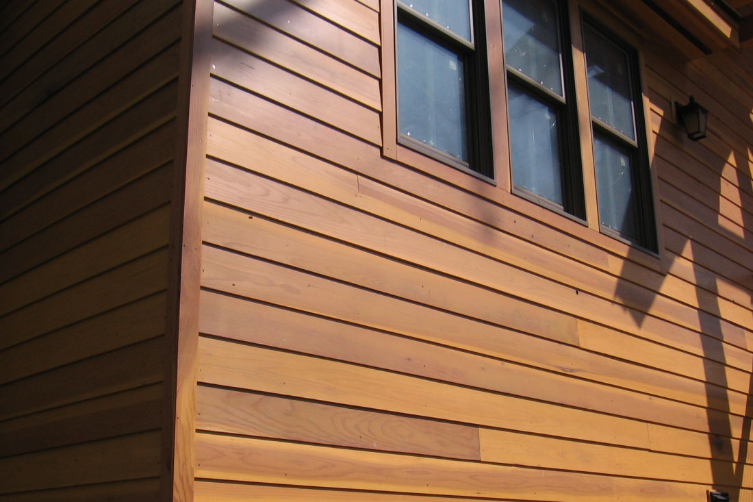 1x8 Rabbeted Bevel Redwood Siding SAP B Near Clear installed on Timberframe Home in New York
