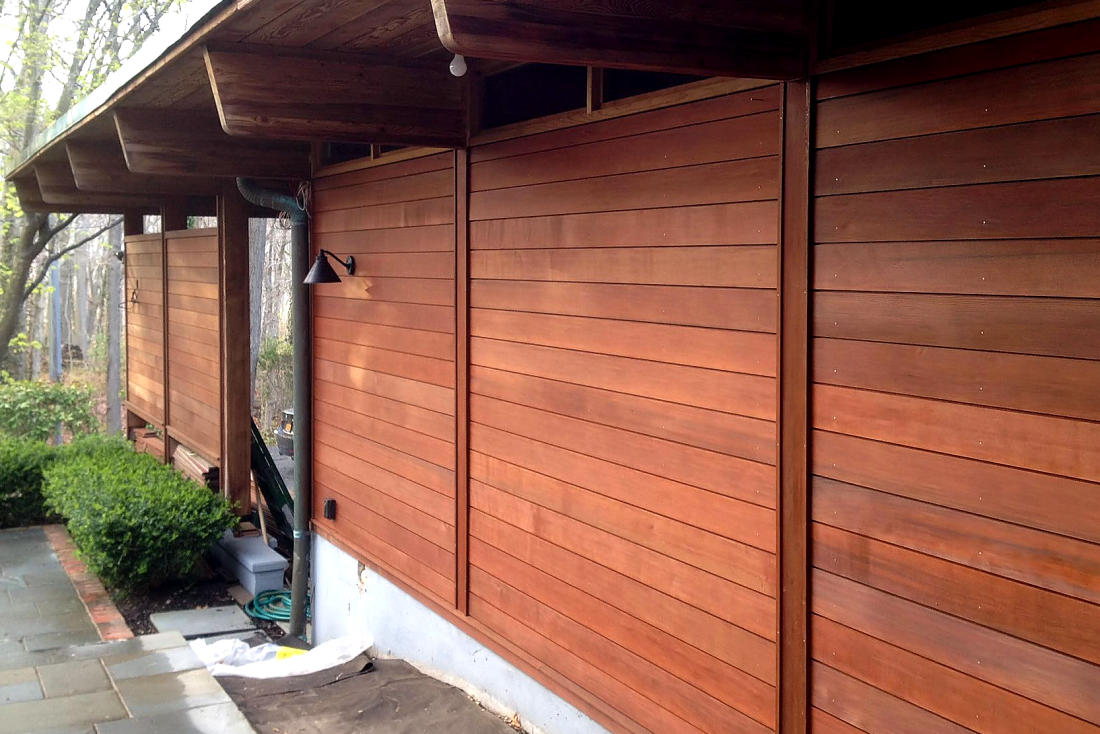 CLEAR CVG CEDAR SIDING 1x6 SHIPLAP PATTERN CUSTOM MILLED 1/4 INCH NICKEL GAP SHADOW PROFILE - STAINED TIMBER OX Walnut