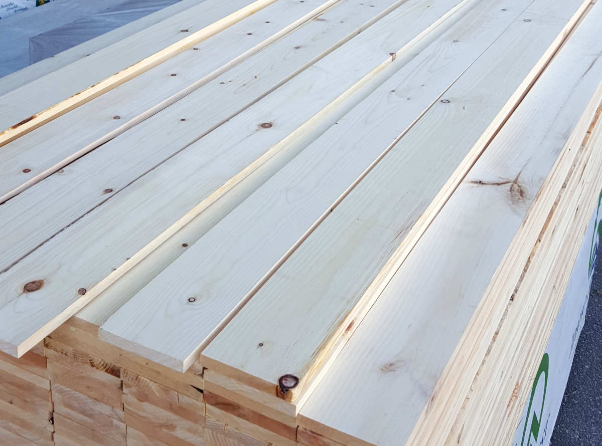 MILL SELECT Paneling Grade: White Pine paneling boards prior to pattern milling